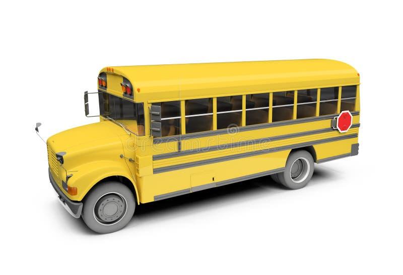 Barramento amarelo da escola isolado sobre o branco ilustração royalty free