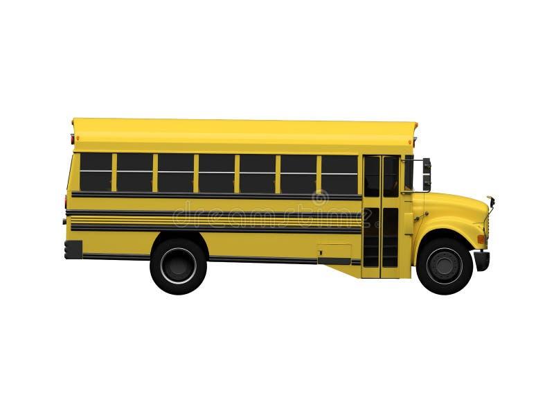 Barramento amarelo da escola isolado sobre o branco ilustração stock