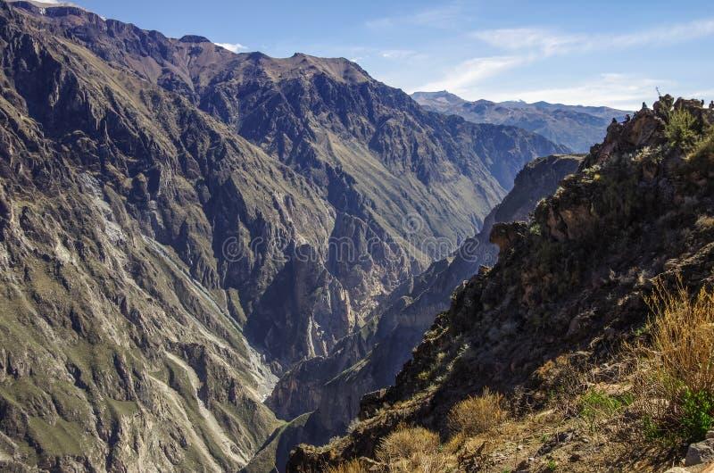 Barranco de Colca cerca del punto de vista de Cruz Del Condor imagen de archivo libre de regalías
