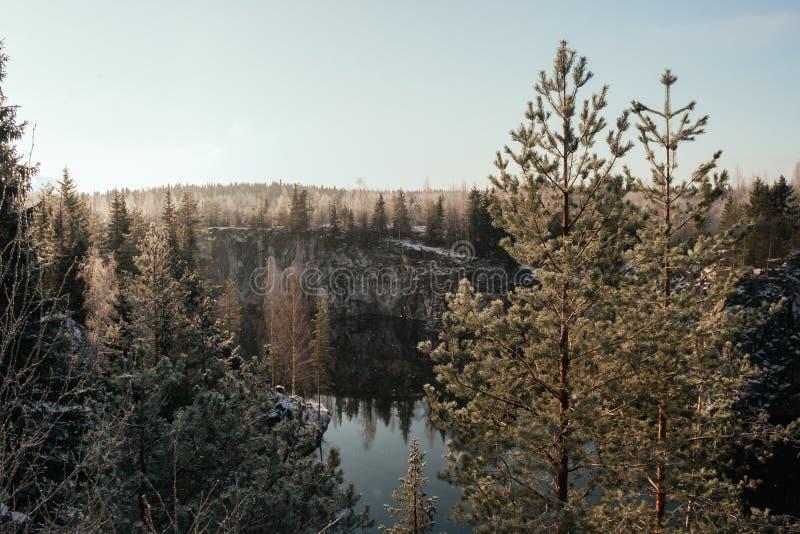 Barranco de mármol en invierno fotos de archivo libres de regalías