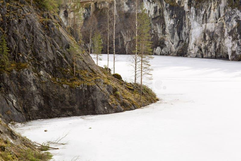 Barranco de mármol Ruskeala en Karelia imagen de archivo