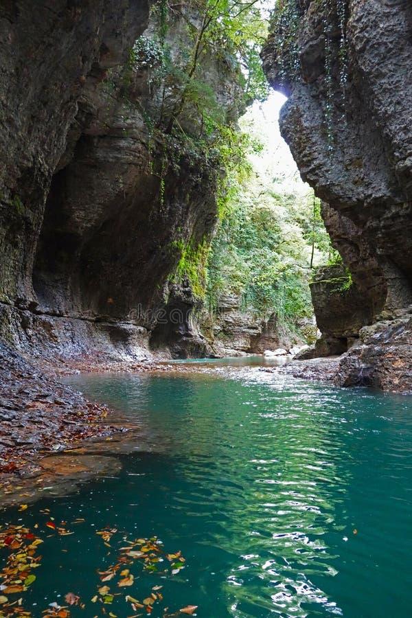 Barranco de Martvili en Georgia Barranco hermoso con el río de la montaña imágenes de archivo libres de regalías