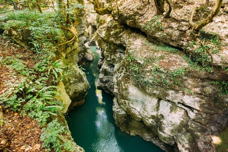 Barranco de Martvili, Georgia Río de Abasha del paisaje Monumet natural fotos de archivo libres de regalías