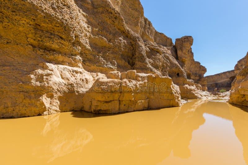 Barranco de Sesriem en el desierto de Namib con la escarpa y agua imagenes de archivo