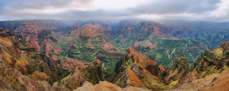 Barranco de Waimea en Kauai, islas de Hawaii. imágenes de archivo libres de regalías
