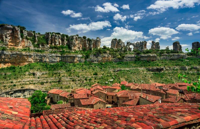 Barranco el río Ebro Orbaneja del Castillo fotos de archivo