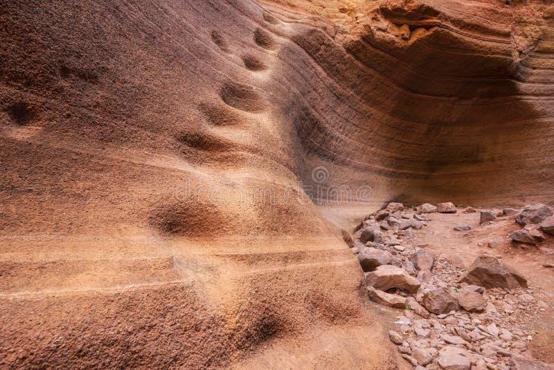 Barranco escénico de la piedra caliza, Barranco de las Vacas en Gran Canaria, islas Canarias España imagen de archivo