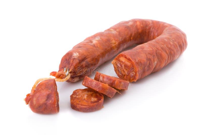 barrancos被切的加调料的口利左香肠古西班牙人 免版税库存图片