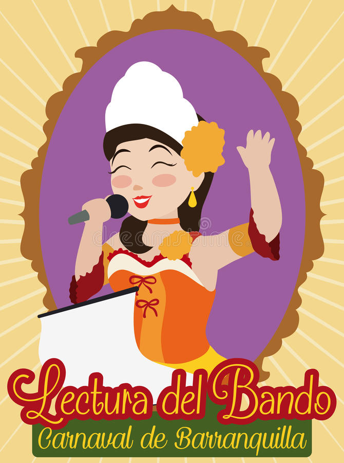 Barranquilla ` s Carnaval Koningin Opening de Gebeurtenis met de Koninklijke Proclamatie, Vectorillustratie stock illustratie