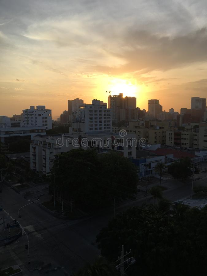 Barranquilla Sunrise Morning Amanecer Colombia. Sunrise in Barranquilla, Colombia. That was at 5:30 am just before going out for a royalty free stock photos