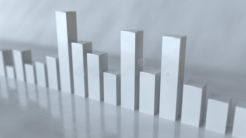 Barras brancas da rendição do analisador de espectro 3D ilustração do vetor