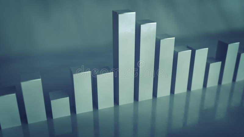 Barras cinzentas da rendição do analisador de espectro 3D ilustração royalty free