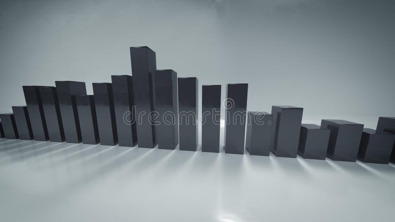 Barras cinzentas do analisador de espectro 3D para render a ilustração ilustração royalty free