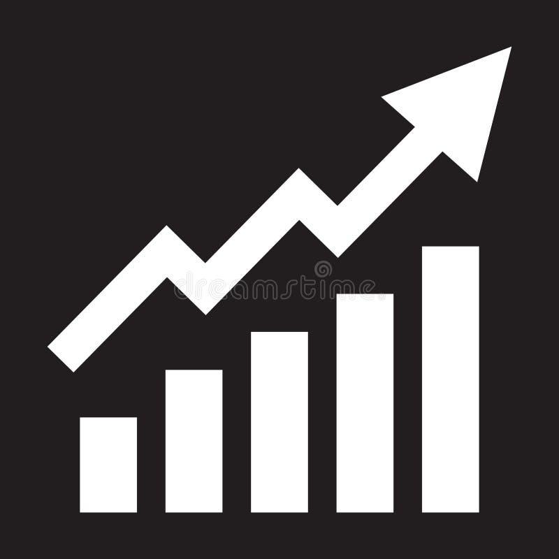 Barras crecientes gráficas con la flecha de levantamiento stock de ilustración