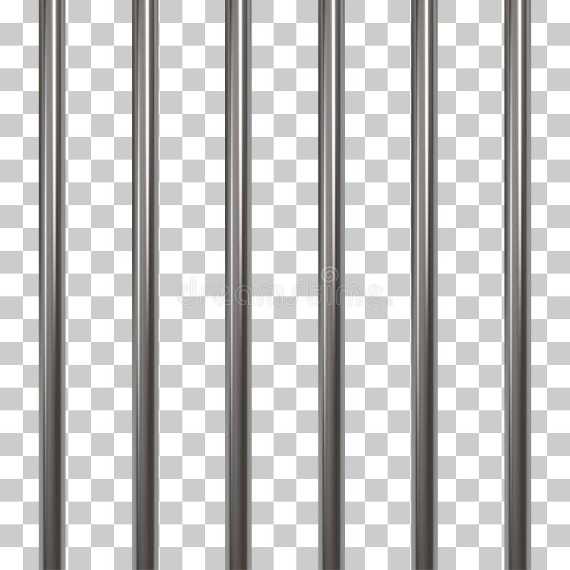 Barras da prisão isoladas em transparente ilustração stock
