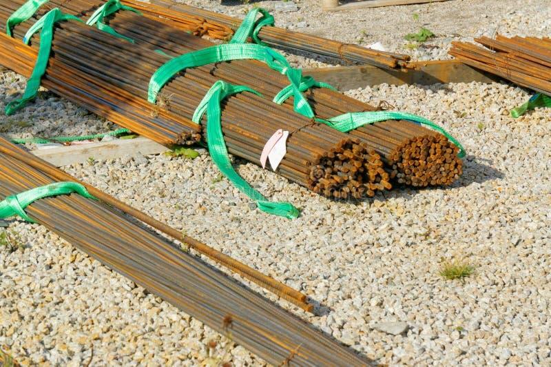 Barras das hastes do aço de reforço para a construção civil em Noruega fotos de stock