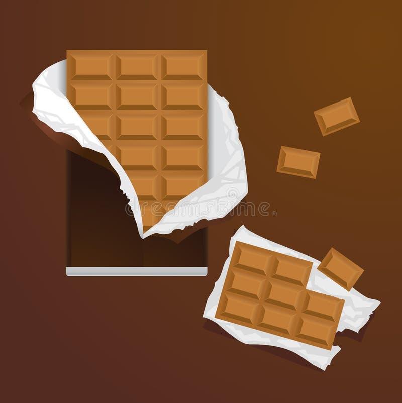 Barras de caramelo de chocolate stock de ilustración