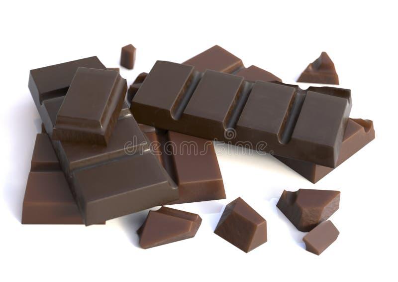 Barras de chocolate aisladas fotografía de archivo