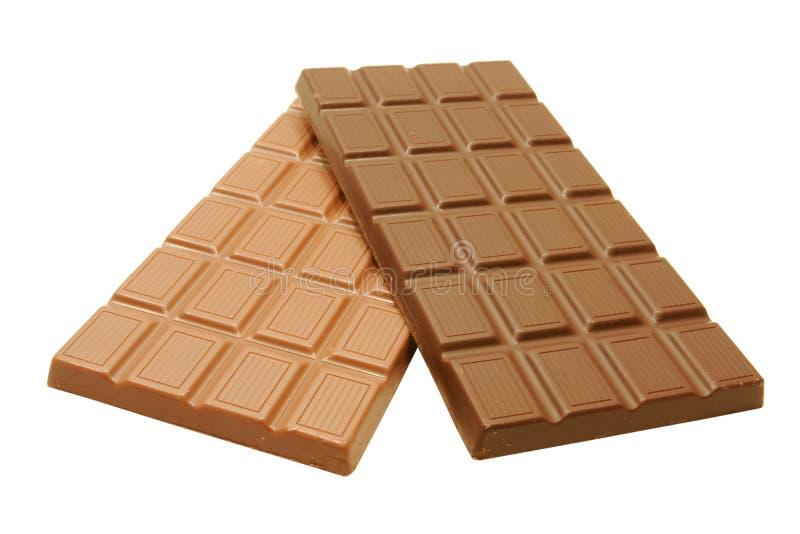 Barras de chocolate orgânicas da obscuridade e do leite fotos de stock