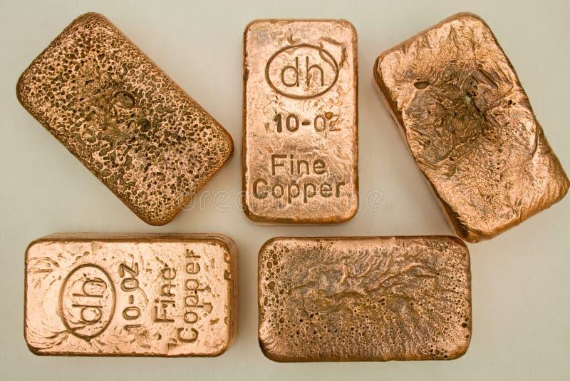 Barras de cobre puras del lingote de 10 onzas imagen de archivo