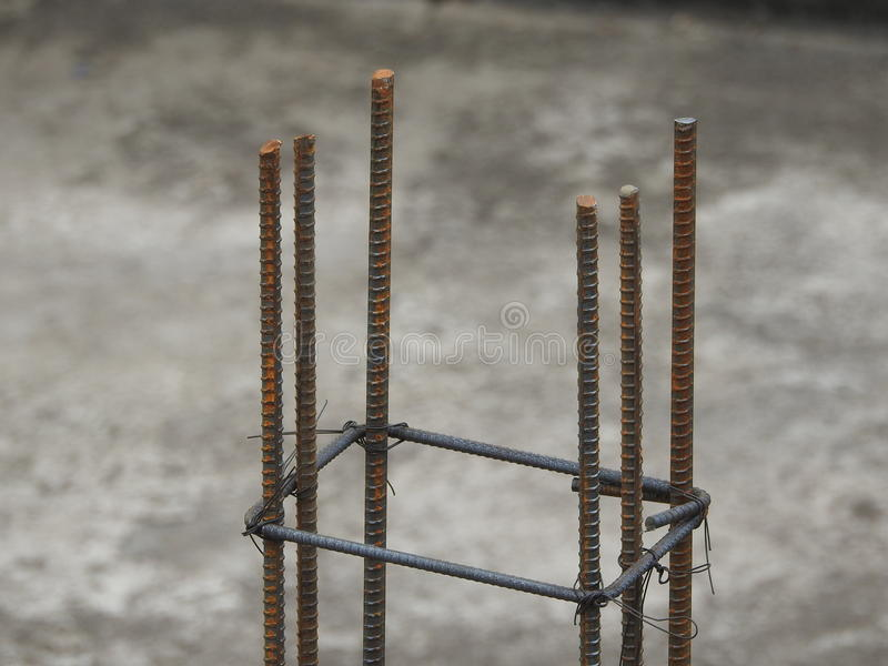 Barras de ferro de aço usadas na construção fotografia de stock
