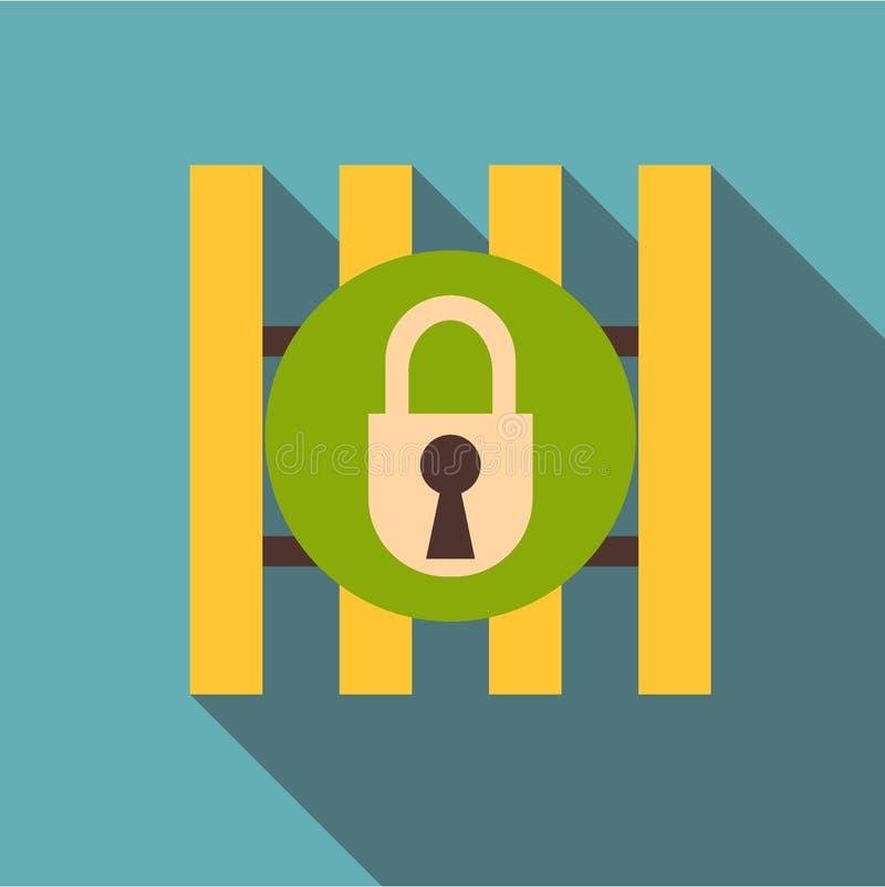 Barras de hierro de puerta con el icono del candado, estilo plano libre illustration