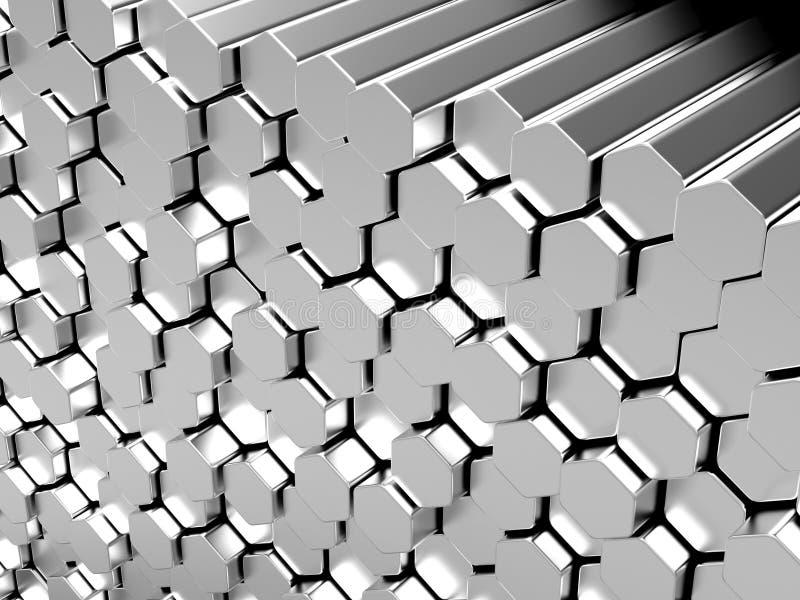 Barras de metal do hexágono ilustração stock