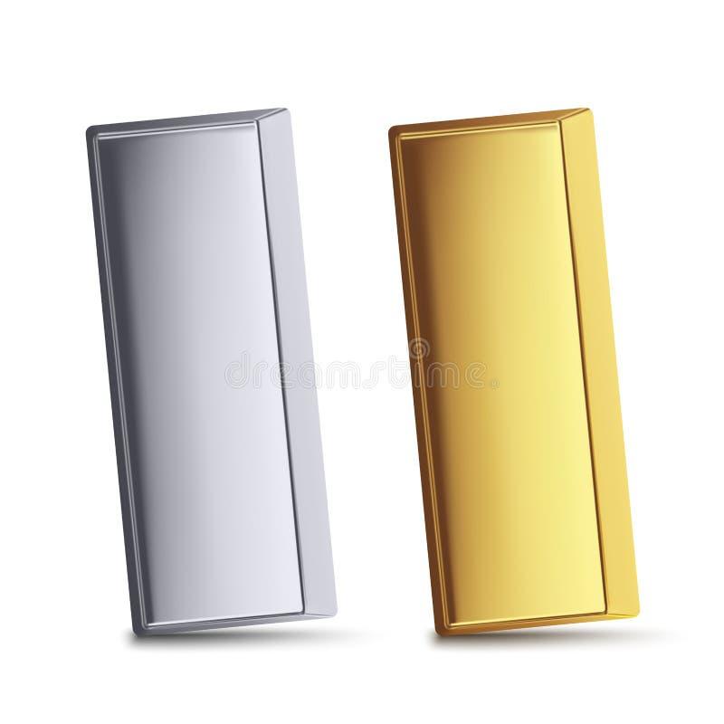 Barras de metal douradas e de prata ilustração do vetor