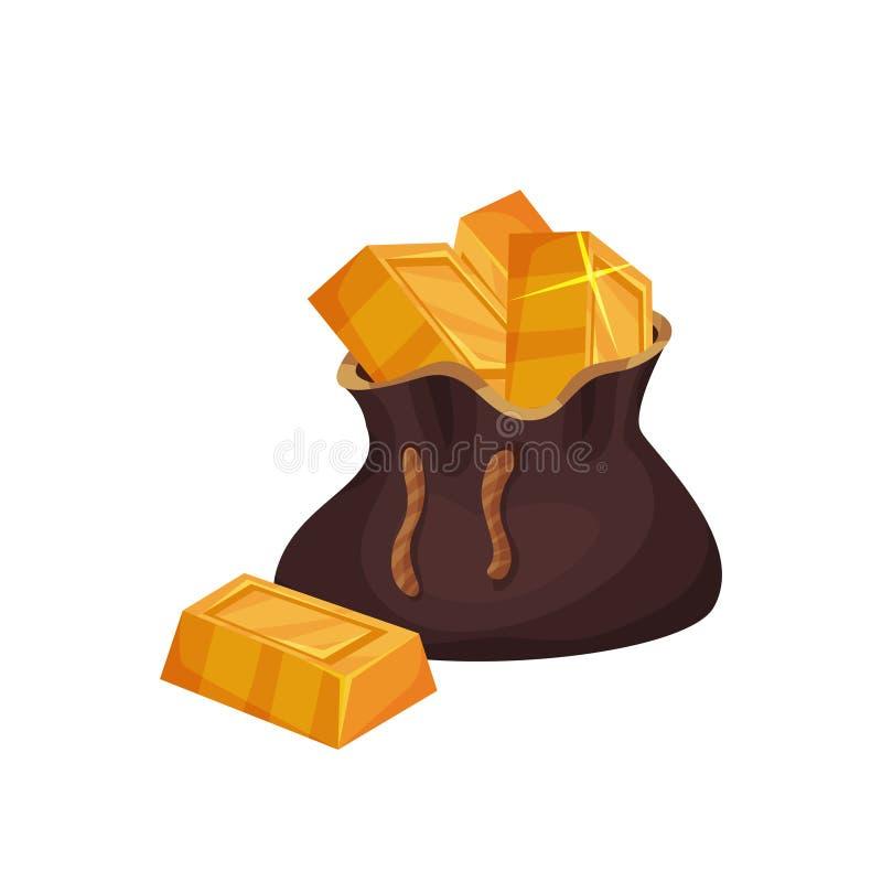 Barras de metal precioso no saco marrom grande Lingotes dourados brilhantes na forma retangular Tesouros do pirata Símbolo da riq ilustração stock