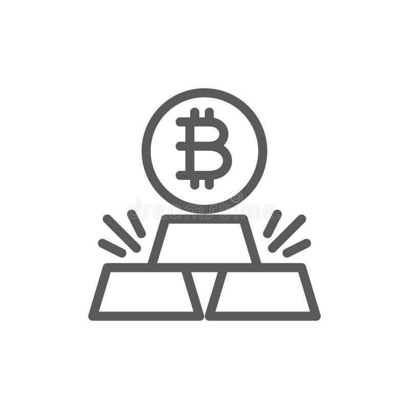 Barras de oro con el bitcoin, línea icono del cryptocurrency libre illustration