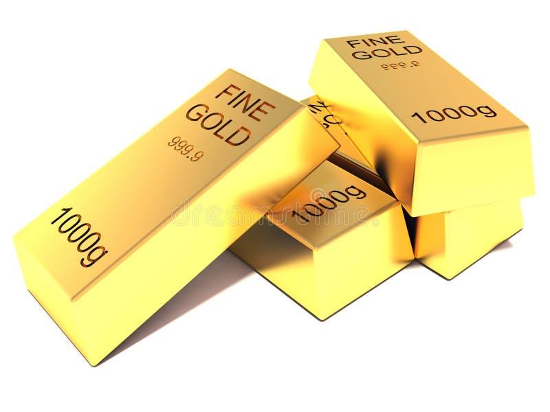 Barras de oro en el fondo blanco stock de ilustración