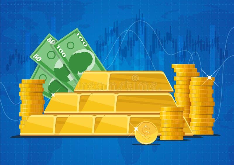 Barras de ouro, cédulas do dinheiro e moedas do dólar Ilustração do vetor do conceito dos mercados de finança do negócio no proje ilustração do vetor