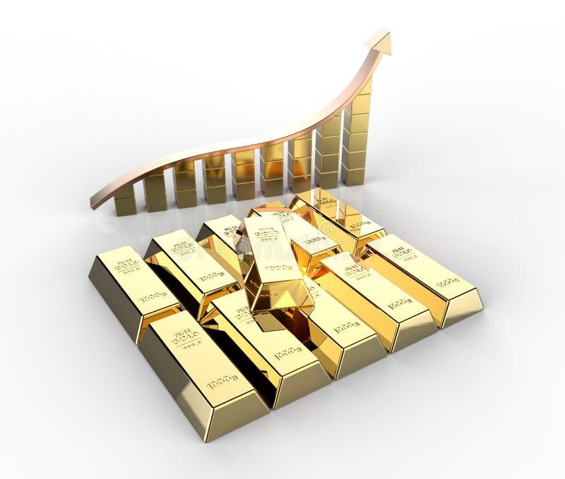 Barras de ouro com gráfico ilustração stock