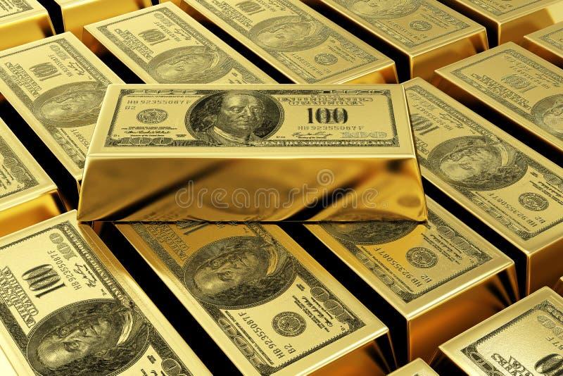 Barras de ouro com selo do dólar ilustração stock