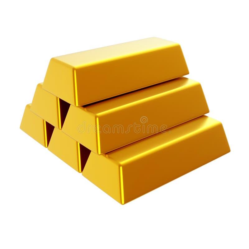 Barras de ouro 3d rendem a ilustração imagens de stock