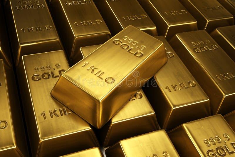 Barras de ouro empilhadas ilustração stock