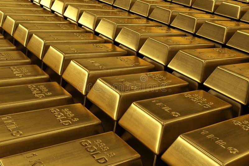 Barras de ouro empilhadas ilustração do vetor