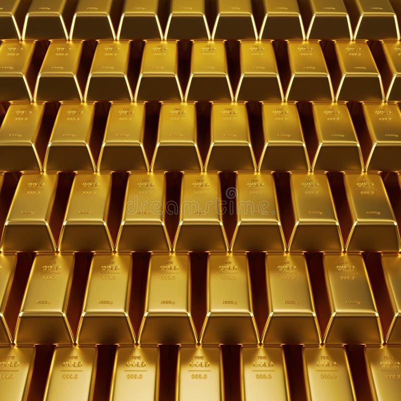 Barras de ouro empilhadas fotografia de stock royalty free