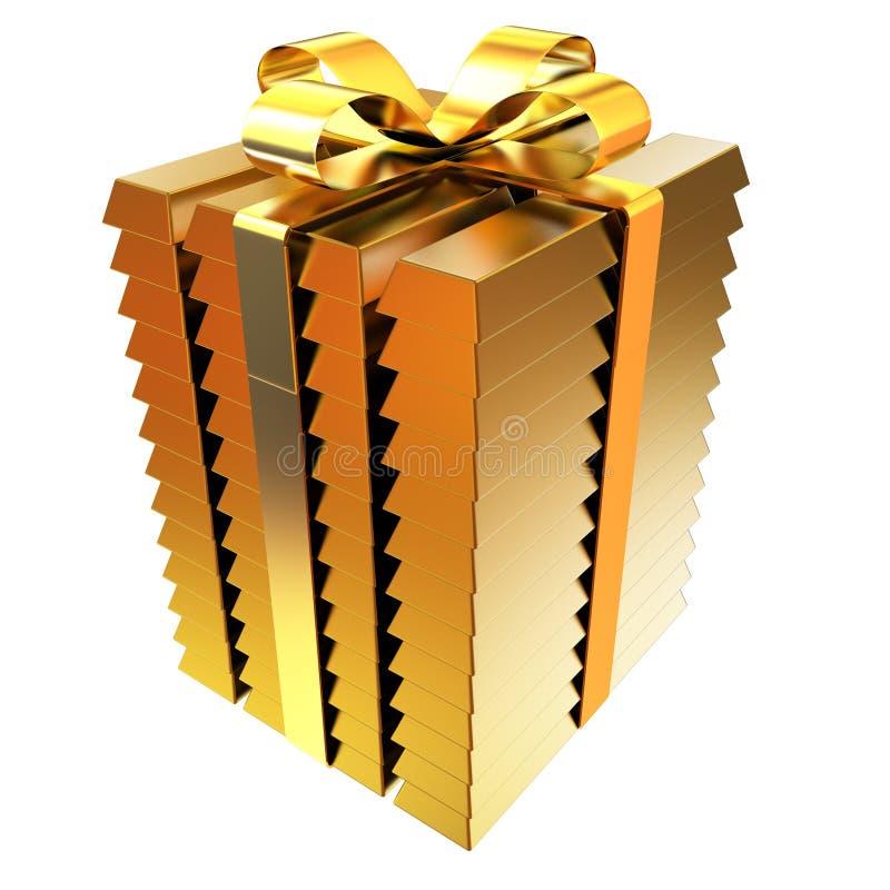 Barras de ouro empilhadas com fita do ouro ilustração 3D ilustração do vetor
