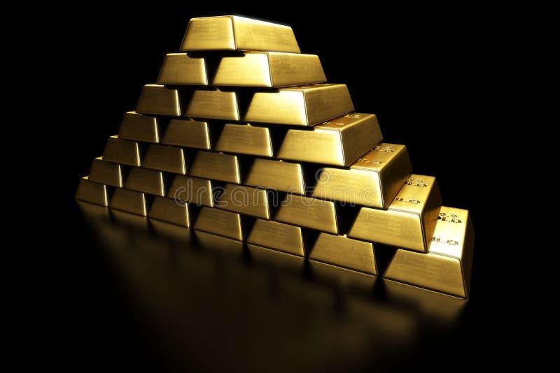 Barras de ouro empilhadas em uma pirâmide ilustração do vetor