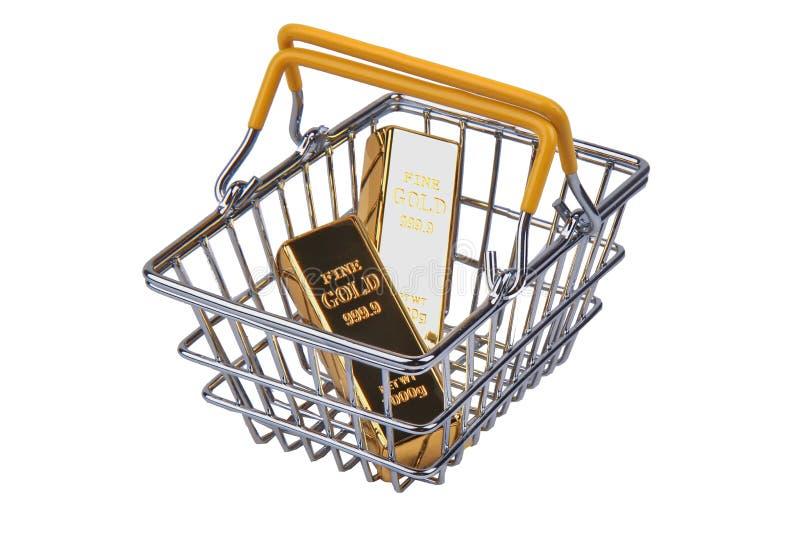 2 barras de ouro 1 quilograma, na cesta do streel da compra com marca amarela fotografia de stock royalty free