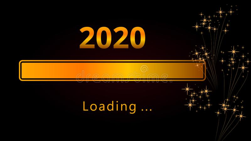 2020 barras de progreso cargadas de oro brillantes de la Feliz Año Nuevo con los fuegos artificiales y las chispas aislados en fo libre illustration