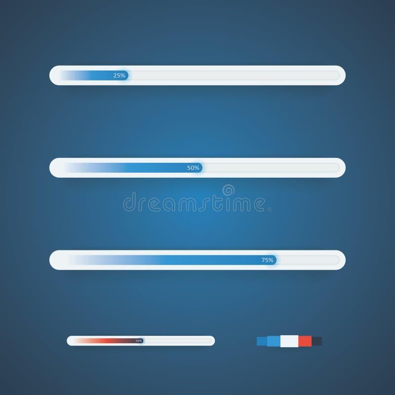 Barras de progreso del vector con la paleta de colores usada Diverso color de la variación de la barra stock de ilustración