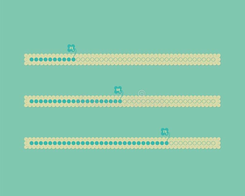 Barras de progreso lindas de diverso vector del color stock de ilustración