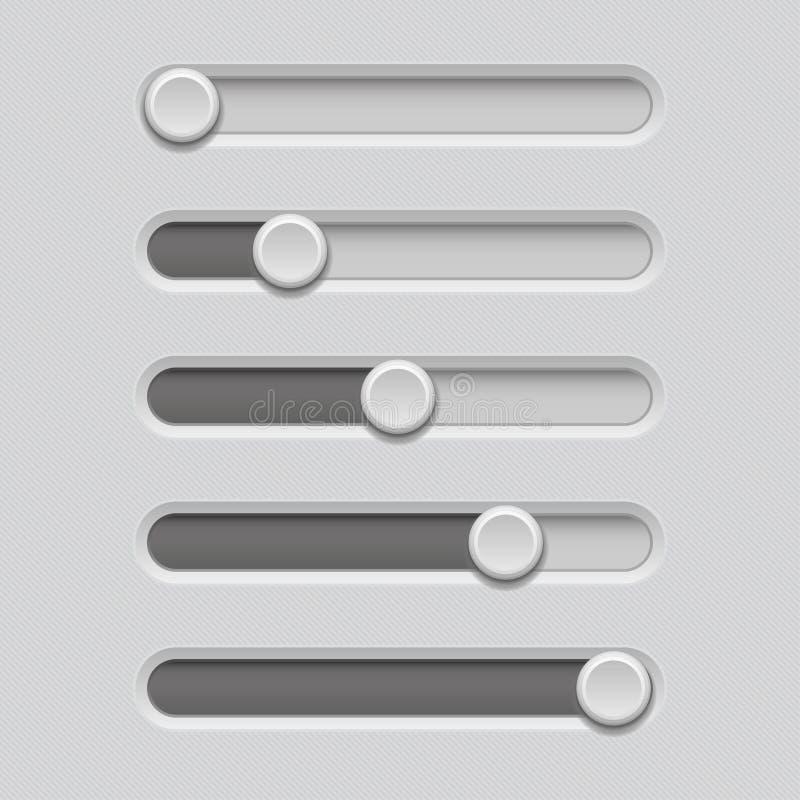 Barras do slider Console cinzento do nível do volume ilustração do vetor