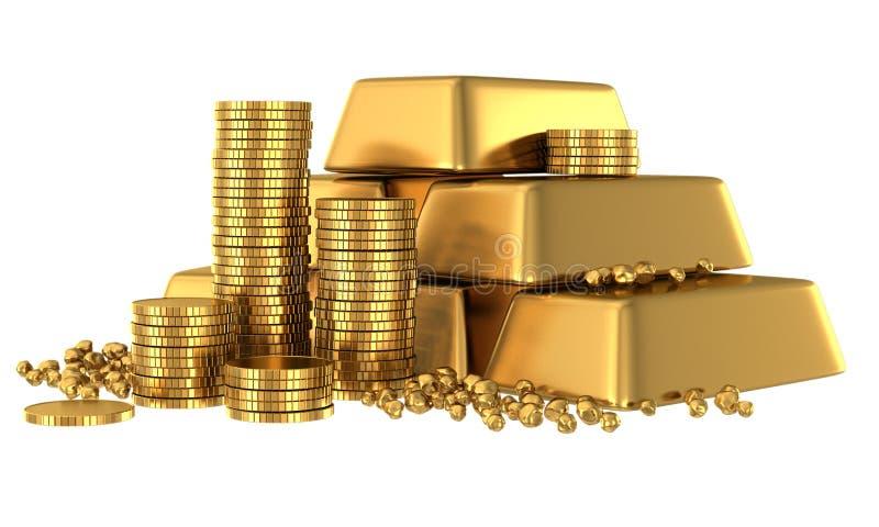 barras e moedas de ouro 3d ilustração do vetor