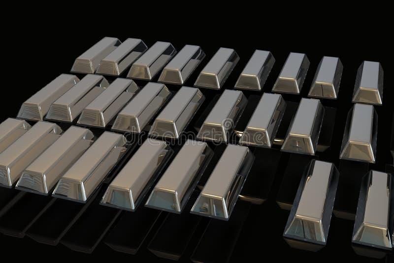 Barras empilhadas do lingote de prata 3D Pena, eyeglasses e gráficos ilustração royalty free