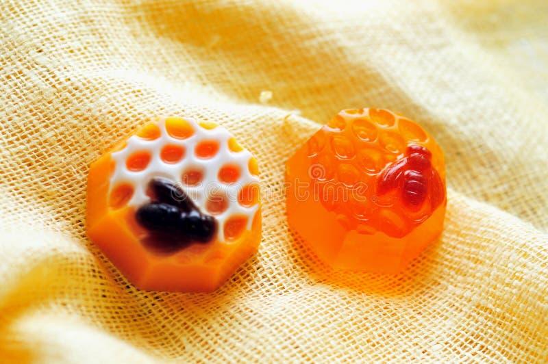 Barras hechas a mano del jabón de la miel fotografía de archivo libre de regalías