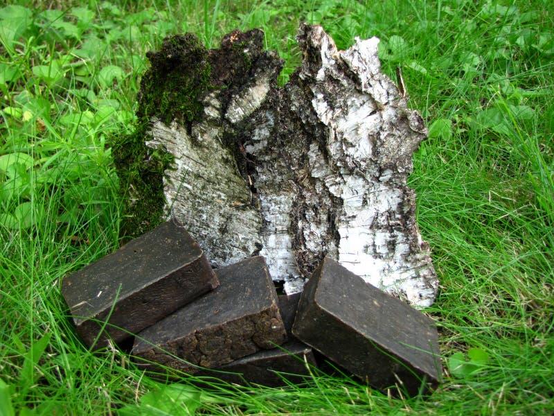 Barras hechas a mano naturales del jabón del alquitrán en backgroun de la corteza de la hierba y de abedul imagenes de archivo