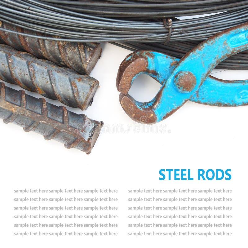 Barras o barras de acero usadas para reforzar el isolat concreto de los técnicos fotografía de archivo libre de regalías